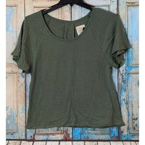 Chaser Womens Small Green Solid Short Sleeve Scoop